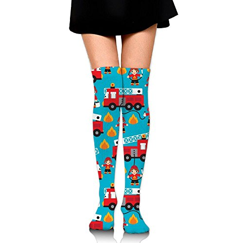 DYDYO Fire Truck And Hero Boys Car Women Or Girls Long Dress Socks Sport Soccer Mesh Tube Socks Over Knee High Long Socks Baseball