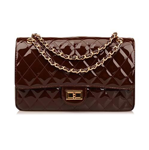 Ainifeel Women's Patent Leather Quilted Chain Purse Shoulder Handbags Crossbody (Large, Chocolate) ()