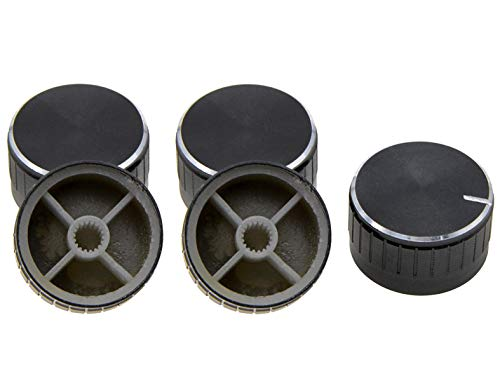 YXQ 29x17mm(DH) Aluminum Volume Control Amplifier Rotary Knob Wheel Caps Black 5Pcs
