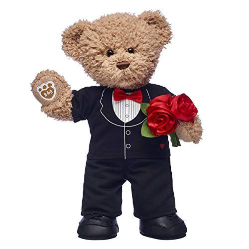 Build A Bear Workshop Timeless Teddy Bear in Tuxedo with Flower Bouquet Gift Set, 16 inches ()