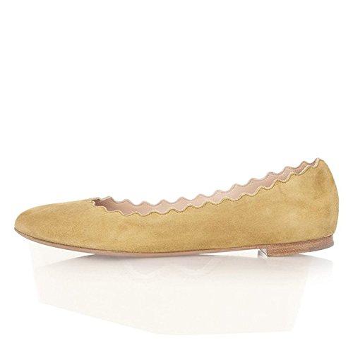 FSJ Women Cute Dress Shoes Scalloping Round Toe Suede Ballet Flats for Comfort Size 4-15 US B01FFC5O9Y 4 B(M) US|Lemon Chiffon