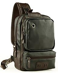 LINGTOM Mens Unbalance Chest Pack Leather Multipurpose Backpack Crossbody Shoulder Bag Travel Sling Bag