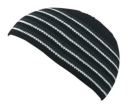 - Muslim Bookmark Stretchy Elastic Beanie Kufi Skull Cap Hats Featuring Cool Designs and Stripes (Black with Green and White Stripes)