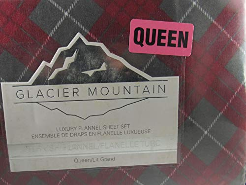 Glacier Mountain Flannel Sheet Set Plaid Queen Red Green Turkish