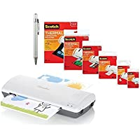 Swingline Laminator, Thermal, Inspire Plus Lamination Machine, 9 Max Width, Quick Warm-Up, White/Gray Bundled with 3M Laminating Pouch Kit With All varieties of Laminating Pouches and Plexon Pen