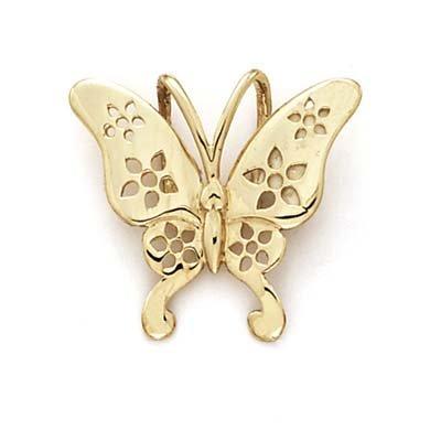 Or 14carats papillon fleur Découpe Pendentif