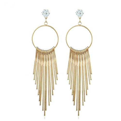 Bollywood Themed Costumes (GERGER BO Geometric Temperament Zircon Metal Long Section Leaf Tassel Earrings)