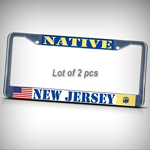 Jersey New Pc - Set of 2 Pcs - New Jersey Native Metal Tag Holder Car Auto License Plate Frame Decorative Border - Two Pre Drilled Holes