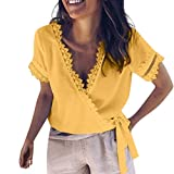 Women's Sexy Tops Solid V Neck Lace Patchwork Short Sleeve Casual Bandage Blouse (XXL, Yellow)