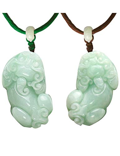 (Dahlia Jadeite Certified Grade A Jade Fortune and Prosperity Pi Xiu Dragon Pendant Necklaces Set)