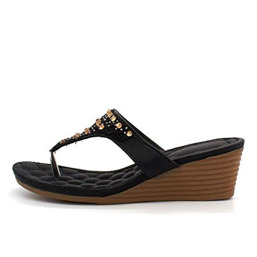 mujer talón London Footwear negro abierto wPxStFq0