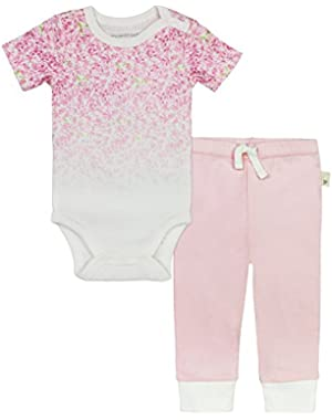 Baby Girls' Short Sleeve Organic Bodysuit and Pant Set