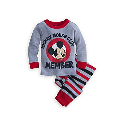 Disney Store Mickey Mouse Club Member Stripes PJ Pals Pajama Set for Baby, Gray, 12-18 Months