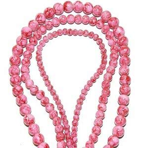 Steven_store G2212 3-Strand Combo Pink w Dark Pink Marbled 4mm 6mm & 8mm Round Glass Bead 32