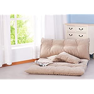 "Merax Adjustable Foldable Modern Leisure Sofa Bed Video Gaming Sofa with Two Pillows (Beige), Size: 87"" L X 43"" W"