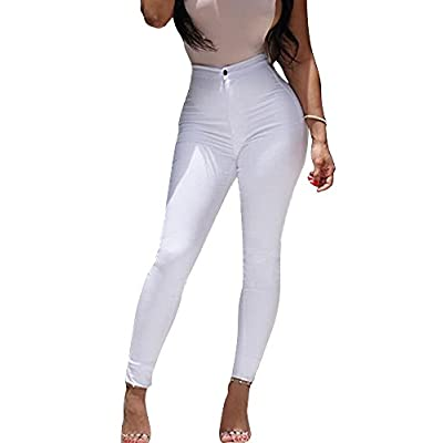 Minetom Femme Sexy Taille Haute Couleur Solide Stretch Pantalon Serré Slim Collant Push Up Leggings Jambières Fitness…