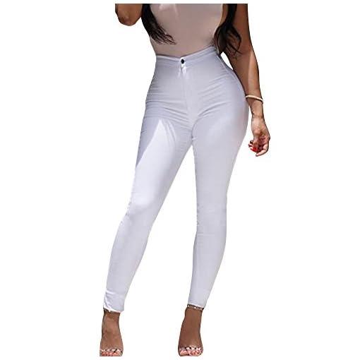 Minetom Femme Sexy Taille Haute Couleur Solide Stretch Pantalon Serré Slim Collant Push Up Leggings Jambières Fitness…