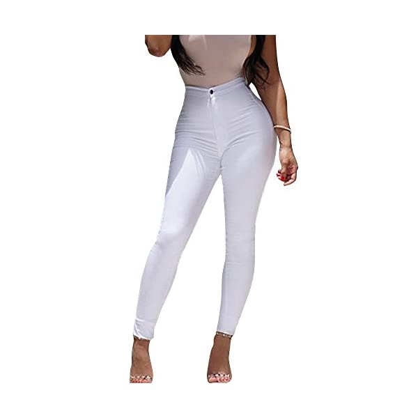 Minetom Femme Sexy Taille Haute Couleur Solide Stretch Pantalon Serré Slim Collant Push Up Leggings Jambières Fitness Skinny Pants accessoires de fitness [tag]