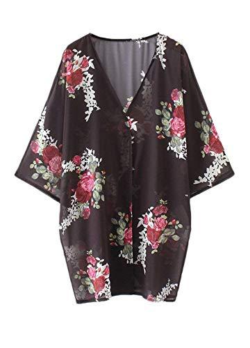 Chiffon Aireado Schwarz Elegantes Verano Tops Mangas Anchos Casuales 4 Blusas Delgado Mujer Kimono Beach Cardigan 3 Floreadas Retro Vintage Moda 0RF1wnq