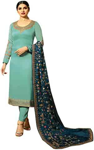 818d637c91 ETHNIC EMPORIUM Straight Georgette Kameez Ready to Wear Churidar Salwar  Suit Women Indian Formal Muslim 8114