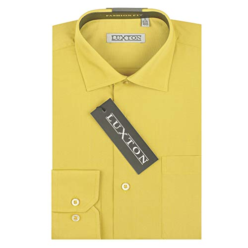 Luxton Cotton Poly Shirt Collection Slim Fit (Yellow 603S,Medium/Neck:15-15 1/2, - Collection Shirt Mens