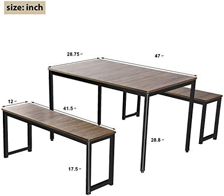 home, kitchen, furniture, kitchen, dining room furniture,  table, chair sets 6 picture Rhomtree 3 Pieces Dining Set Table with 2 in USA
