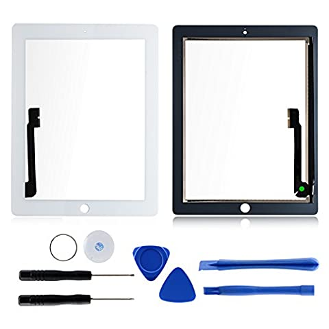 Screen Replacement for iPad 3 Includes Touch Glass Screen Digitizer Parts + Free Tool Kits + Adhesive Tape by (Touch Ipad A1416)