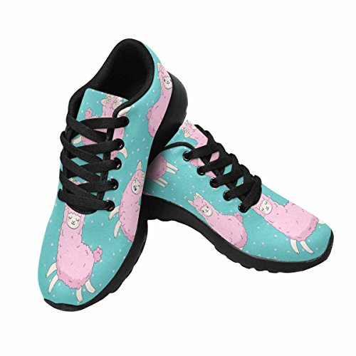 InterestPrint Pink Fluffy Llama,Alpaca Womens Jogging Running Sneaker Lightweight Go Easy Walking Shoes Multi 1