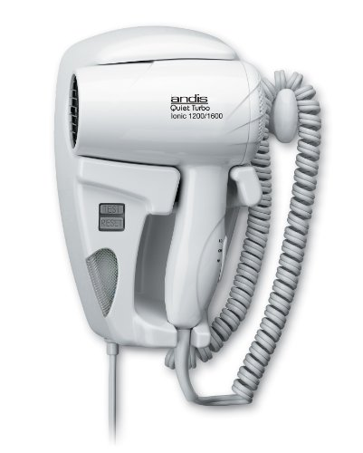 Andis 1600-Watt Quiet Wall Mounted Hangup Hair Dryer with Night Light, White (30975)