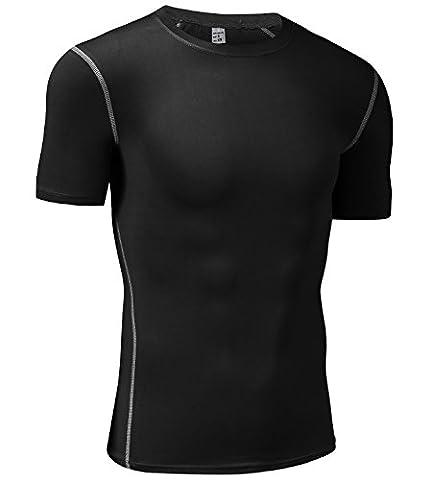 Men's Compression Shirt Sport Performance Crewneck Short-sleeve T Shirt(Large,1 Pack-Black) - 1p Suits