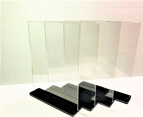 NPUS Ventures Acrylic Sign Holder: 8.5 x 11'', Double Sided, T Shaped with Stylish Jet-Black Cover - Great for Posting Signs, Menu Items, Pictures and Advertisement [4 Holders and 4 - Stone 11'