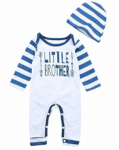 Newborn Infant Baby Boy Little Brother Long Sleeve Stripe Romper Hat Outfits Set Size 6-12 Months/Tag80 (Blue)