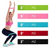 YTE Resistance Loop Exercise Band with Instruction Guide, Set of 5 Workout Band with Carry Bag for Home Fitness, Stretching, Physical Therapy