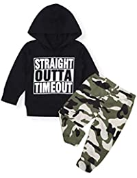 Baby Boy Clothes Long Sleeve Funny Letter Top Hoodie + Camouflage Pants 2Pcs Outfit Set