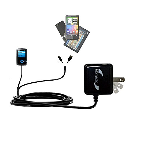 Gomadic Double Wall AC Home Charger suitable for the Creative Zen V Plus - Charge up to 2 devices at the same time with TipExchange Technology