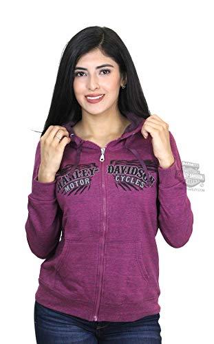 Harley-Davidson Womens Midnight Name Winged Full Zip Purple Long Sleeve Hoodie - XL