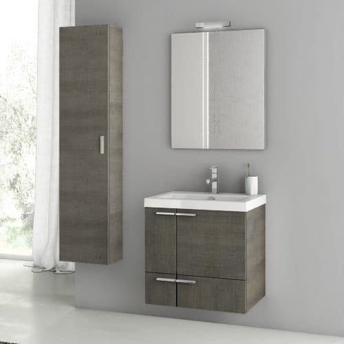 Nameeks ANS52 ACF 23-6/15″ Wall Mounted Vanity Set with Wood Cabinet, Ceramic To, Grey Oak