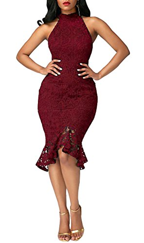 Women Cocktail Mermaid Halter Midi Bodycon Party Wine Floral Blansdi Pencil Sexy Dress Red Lace HUxqppd