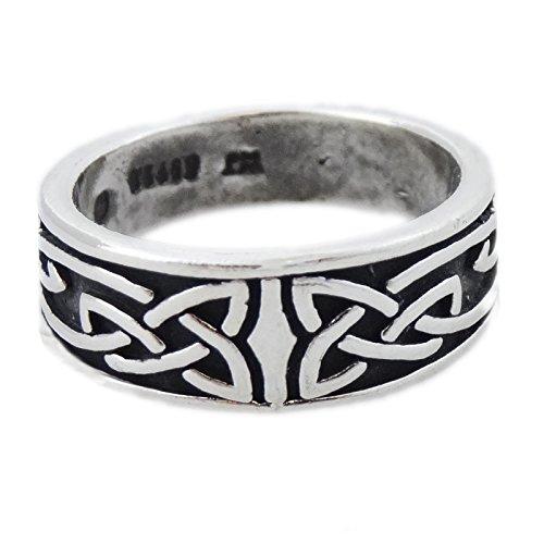 Celtic Tribal Knot Ring (Sterling Silver Men's Women's Tribal Trinity Celtic Knot Band Ring Sizes 5-12 (6))
