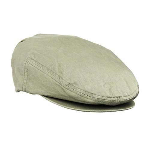 Large/XL Khaki Cotton Irish Ivy Driving Cap, Newsboy Gatsby Classic Cabbie Hat