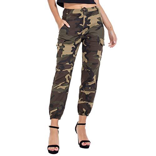 JTANIB Women's Camo Joggers High Waisted Slim Fit Cargo Pants with Pockets,Green XL