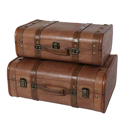 - Soul & Lane Abby Decorative Wooden Vintage Style Suitcases (Set of 2) | Storage Trunk Chest Set for Travel Theme Parties Birthdays Home Decor