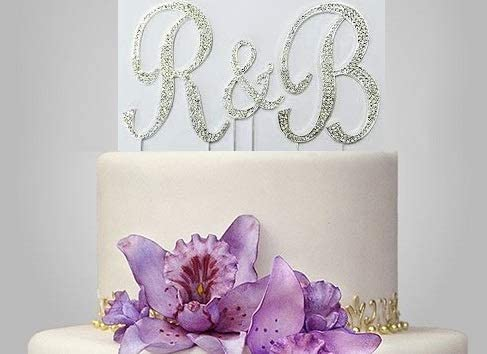 Forbes Favors /™ Set of 3 Large Gorgeous Real Rhinestone Monogram Letters Wedding Cake Topper A B C D E F G H I J K L M N O P R S T U V W