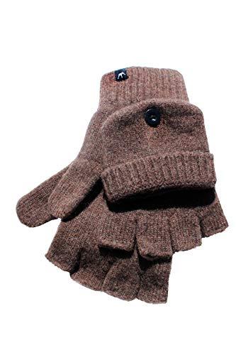 Dohm Richard Gloves Merino Wool Fingerless Winter Gloves with Optional Mitten Feature, Brown, Medium/Large by Icebox Knitting