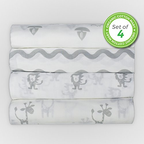 Organic Cotton Swaddle Blankets Muslin Large - Premium Safari Collection Swaddle Blankets with Animal Prints - Unisex Muslin Swaddle Blankets - Organic Baby Blankets - 4 Pack - (Gray Collection) (Gray Organic Blanket)