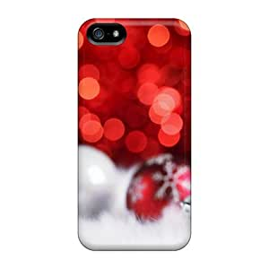 [DDt217YqSP]premium Phone Case For Iphone 5/5s/ Red Christmas Balls Bokeh pc Case Cover
