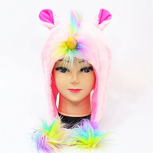Easy To Make Halloween Costumes For Teenager (MeMo Toys Unicorn Hat Rainbow Fluffy Party Hat Horn Headwear Perfect for Cosplay Costume (Pink))