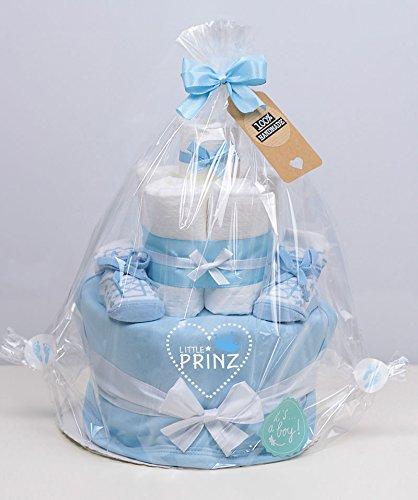 Trend Mama Windeltorte hellblau Junge L/ätzchen Sneaker Babysocken Little Prinz