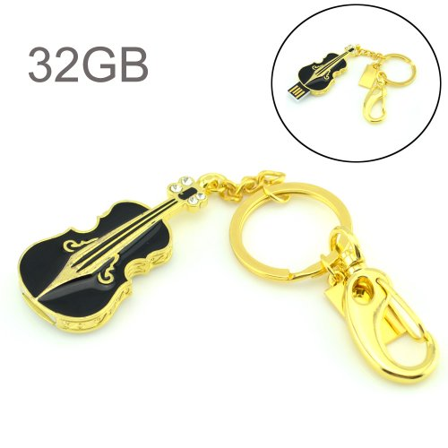 Flash Drive 32GB, Pen Drive Memory Stick USB2.0 AreTop Creative Miniature Metal Violin Thumb Drives for Date Storage Gift for School Students Kids Children Teacher Employees with Key Chain, Black