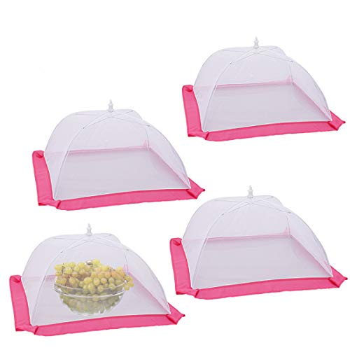 4 Pack Pop-Out Mesh Food Cover Tent Umbrella, 17 inch Foldable Durable Mesh Screen Tent Protectors to Keep Flies, Mosquitoes and Bugs Away from Your Food and Fruit at Picnics, BBQ, Kitchen